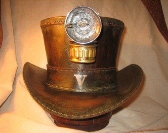 Custom Steampunk Leather Top Hat