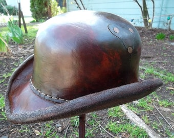 Steampunk Victorian Leather Bowler Derby Hat