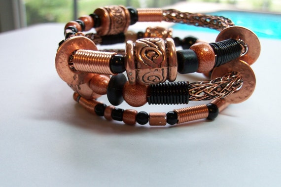 Copper & Black Viking Knit Bangle Bracelet
