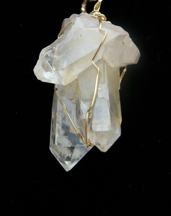 Arkansas Quartz Crystal Pendant Wrapped in Gold Wire on Vintage Gold Chain OOAK