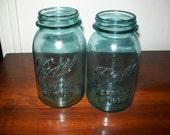 8 OLD Aqua Blue Ball Mason QUART Canning Jars Perfect 4 Peacock color Wedding