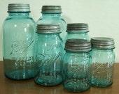 6 Vintage Aqua Blue  BALL Perfect Mason Pint Quart & Half Gallon Jars with OLD Zinc Lids