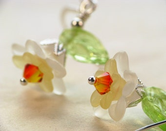 Delightful Daffodils - Lucite Flower Earrings in Sterling Silver