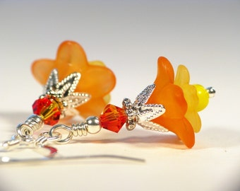 Little Orange and Yellow Lucite Flower Earrings in Silver