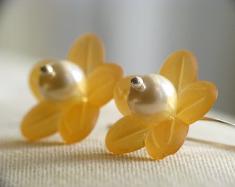 Golden Autumn Flower Earrings in Sterling Silver