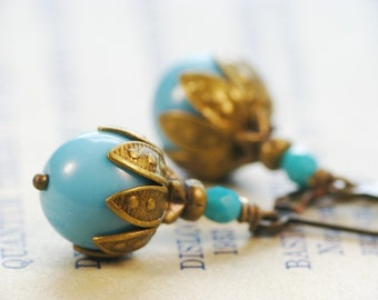 Summer Dreams - Robin's Egg Blue Czech Glass Beads and Antiqued Brass - Vintage Style Earrings