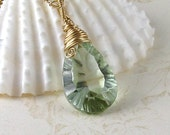 Prasiolite necklace, handmade green amethyst necklace, gold jewelry-OOAK