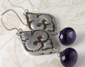 Amethyst earrings, handmade Fleur de lis fine silver jewelry-OOAK