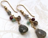 Labradorite earrings, handmade gold, apatite, garnet earrings-OOAK