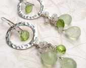 Prehnite earrings, handmade peridot, moonstone, sterling silver earrings-OOAK fairy earrings