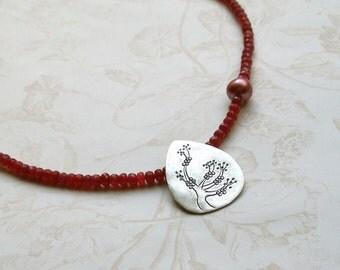 Ruby Necklace, handmade July birthstone necklace-Plum Blossom