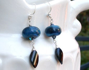 Black garnet earrings, Handmade boroscilicate glass and sterling silver earrings-Blue Planet OOAK