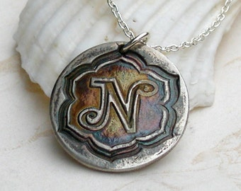 Custom silver monogram, initial necklace, eco friendly fine silver circle pendant, handmade personalized necklace