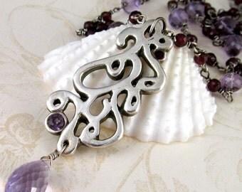 Victorian garnet necklace, handmade fine silver scroll necklace with pink amethyst, alexandrite-OOAK