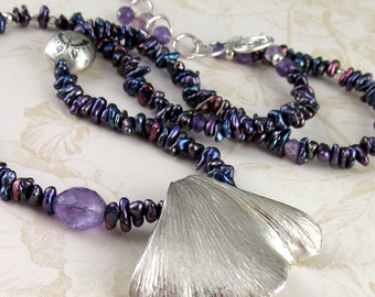 Gingko leaf necklace, handmade pearl, fine silver necklace with amethyst-OOAK