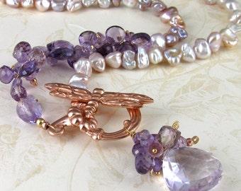 Pink amethyst necklace, handmade pearl jewelry-Inner Beauty OOAK designer jewelry