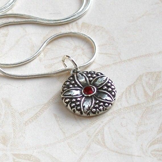 Ruby flower pendant, handmade eco friendly fine silver vintage button necklace-OOAK