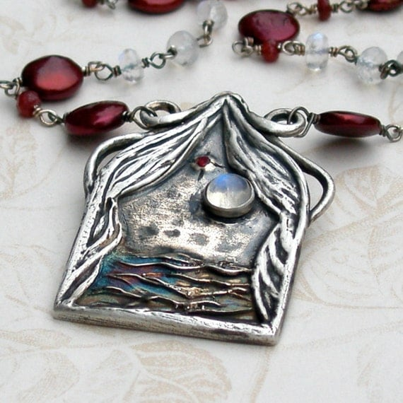 Night sky pendant, handmade fine silver, red pearl, ruby, moonstone necklace - OOAK-Twilight
