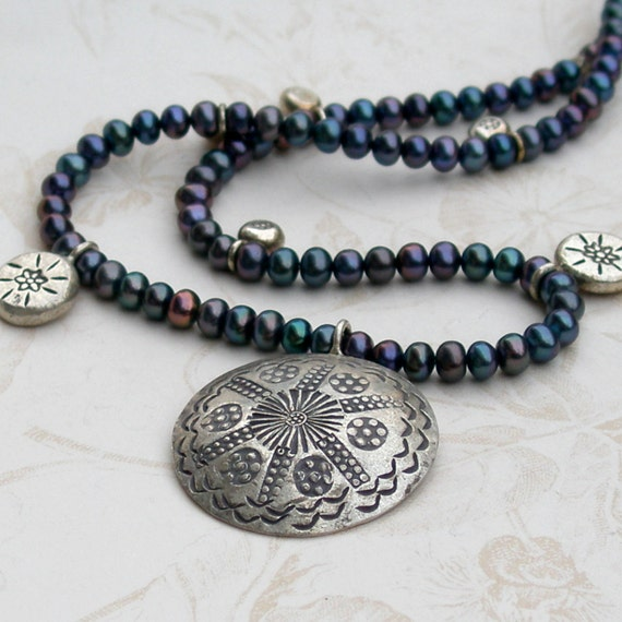 Tribal pearl necklace, handmade purple pearl and hill tribe silver necklace-OOAK Bones necklace
