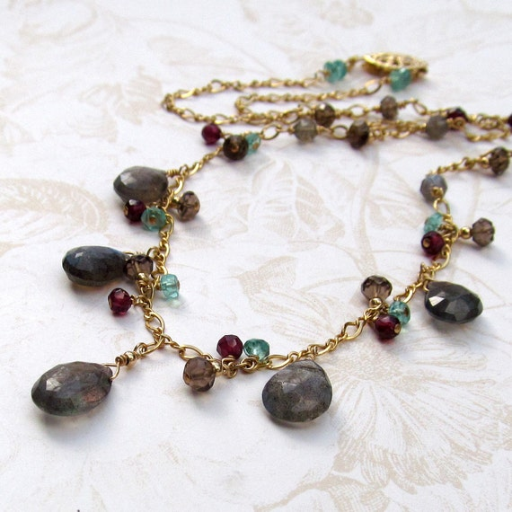 Labradorite necklace, handmade gold, apatite, garnet necklace-OOAK