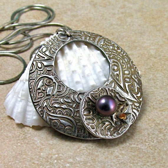 Silver paisley pendant, handmade fine silver spinner necklace with pearl and yellow sapphire-OOAK