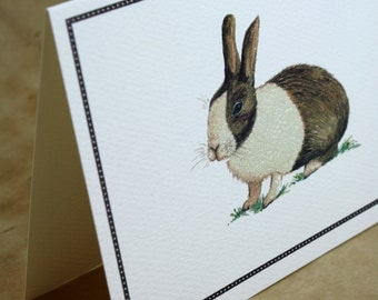 Chocolate Brown and White Rabbit, Bunny, Set of 8 Handmade Greeting Cards Packaged