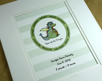 Personalized Year of the Dragon Chinese New Year Print for New Baby and Children