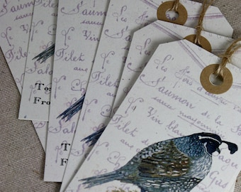 6 Quail Gift Tags, Recycled Paper, Watercolor Print French Script Vintage Style, Set of 6, Large Tags