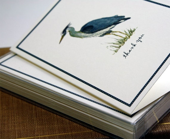 Blue Heron Thank You Notes, Set of 8 Greeting Cards Packaged