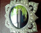 Tiny Mirror in Ornate Star Frame - Antique white and Sterling Color