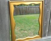 Large Gold Mirror in Vintage Wavy Wood Frame