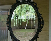 Ornate Oval Mirror in Vintage Metal Frame - 17 x 12 inch Handpainted Brass in Jet Black