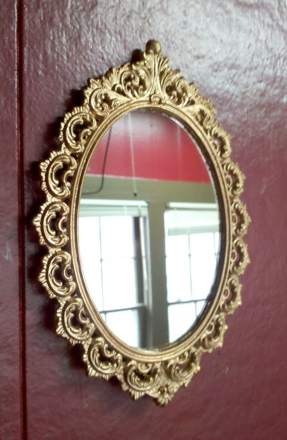 Details about brass photo frame vintage ornate oval frame victorian - Small Mirror In Vintage Victorian Frame Ornate Oval In Rosy