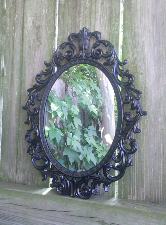 Fairy Princess Mirror - Ornate Vintage Frame in Glossy Black - 13 by 10 inches
