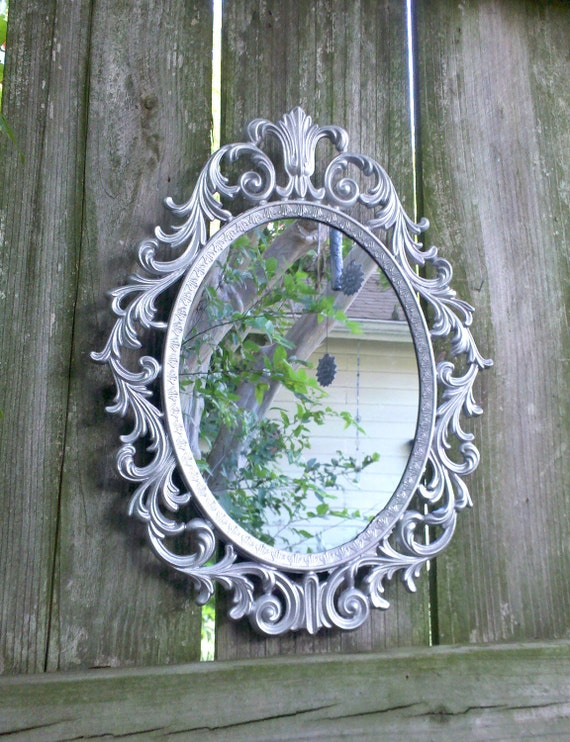 Fairy Princess Mirror - Ornate Vintage Frame in Shiny Silver - 13 by 10 inches
