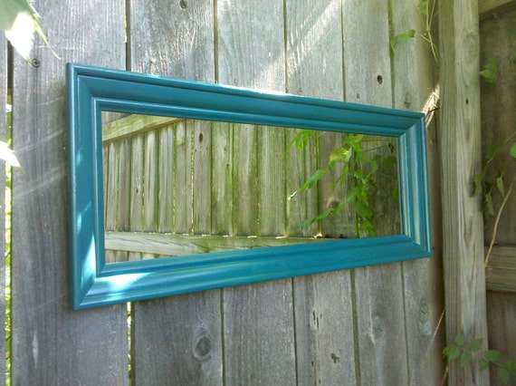 Long Wall Mirror in Vintage Pacific Blue Wood Frame