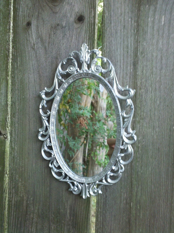 Fairy Princess Mirror - Vintage Oval Frame in Shiny Silver - 8 by 5.5 inches