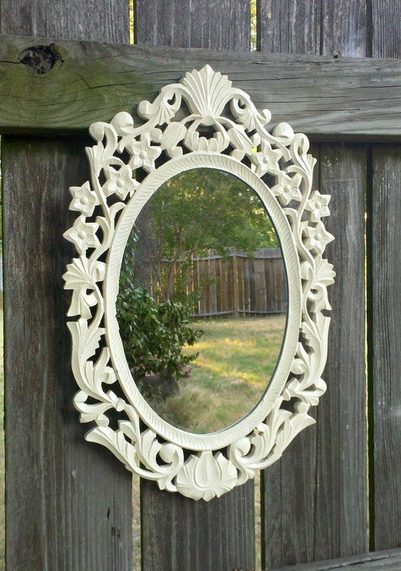 White Oval Mirror In Vintage Hand Carved Wood Frame