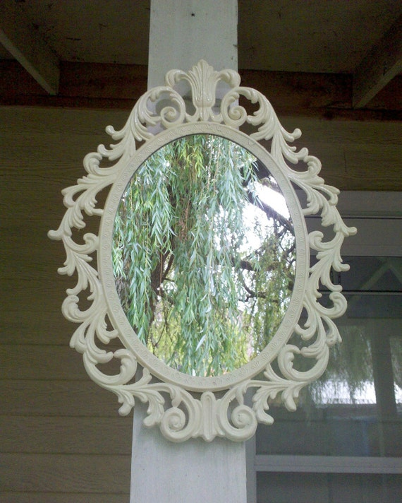 Fairy Princess Wall Mirror - 13 by 10 in Vintage White