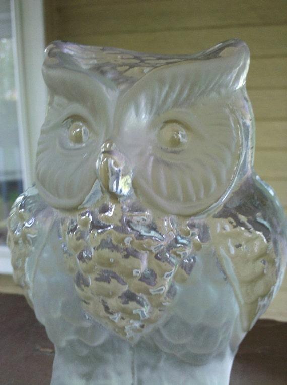 Glass Owl Viking Figurine
