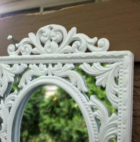 White Wall Mirror in Ornate Vintage Brass Frame