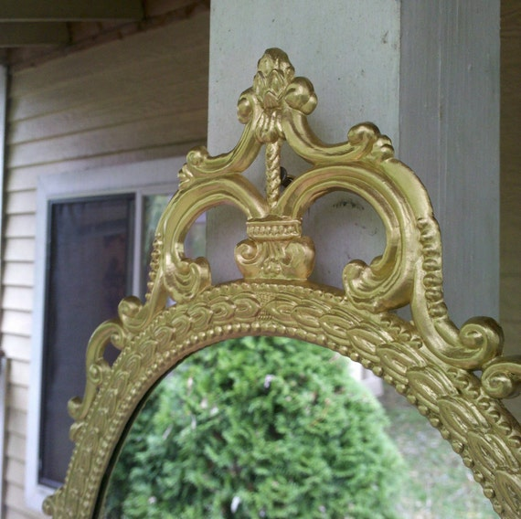 Ornate Oval Mirror in Vintage Metal Frame - 17 x 12 inch Handpainted Brass in Traditional Gold