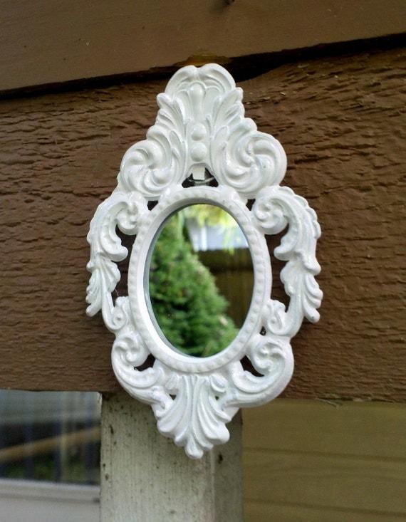 Miniature Oval Mirror in Ornate Vintage Italian Frame