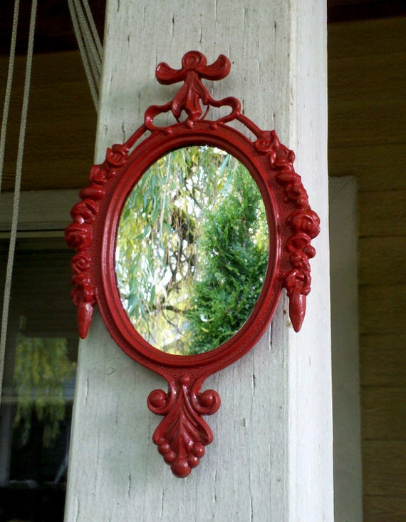 Small Mirror in Vintage Lipstick Red Frame - Revived Vintage