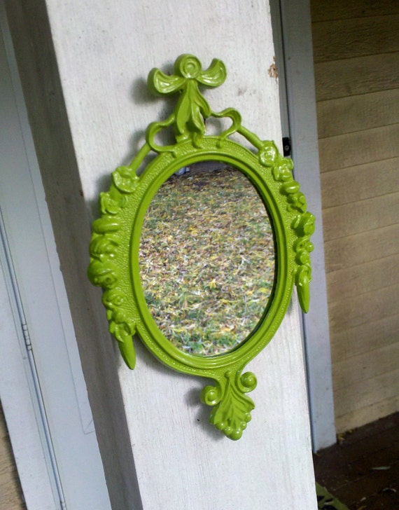 Small Mirror in Vintage Spring Green Frame - Revived Vintage