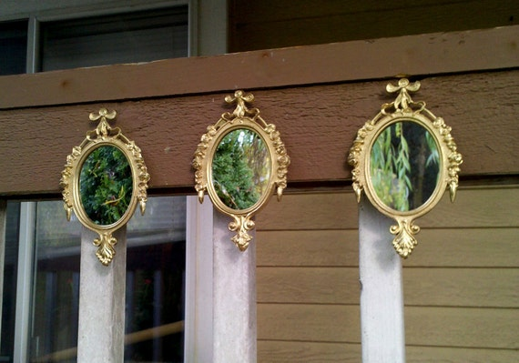 Oval Wall Mirror Set of Three in Traditional Bright Gold
