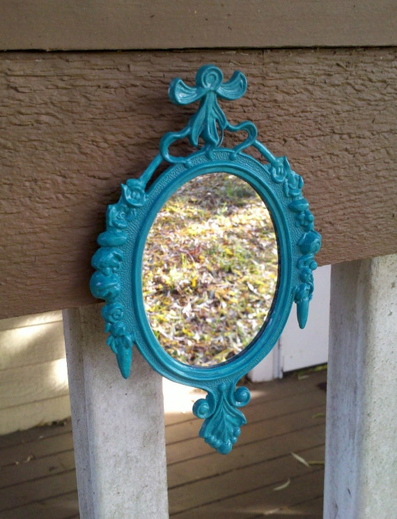 Small Mirror in Vintage Bright Turquoise Frame - Revived Vintage