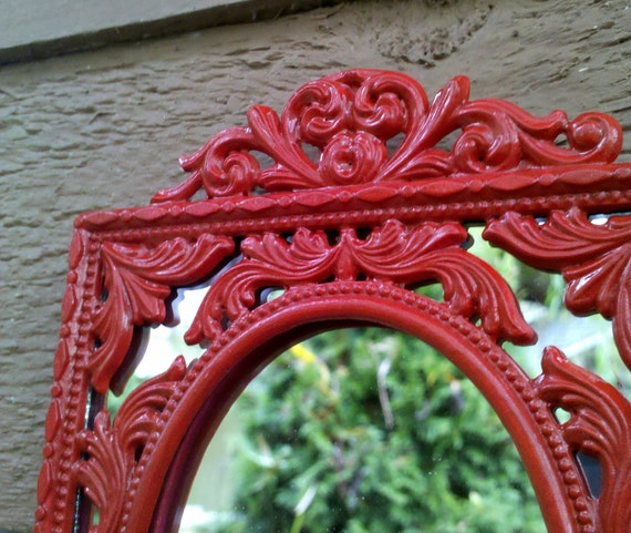 Decorative Wall Mirror in Bright Red Vintage Brass Frame