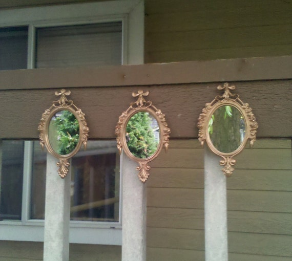 Oval Wall Mirror Set of Three in Rosy Gold