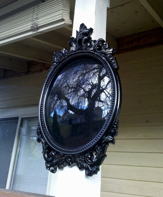 Black Scrying Mirror In Large Oval Vintage Frame Convex Glass